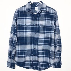 GAP Men's plaid flannel blue and grey Small